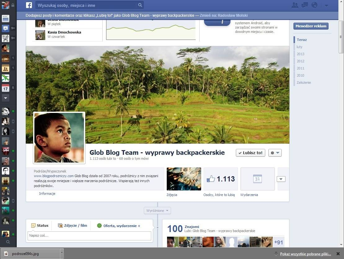 Nowy układ strona Facebook