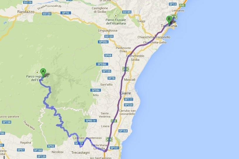 Mapa dojazdu na Etnę