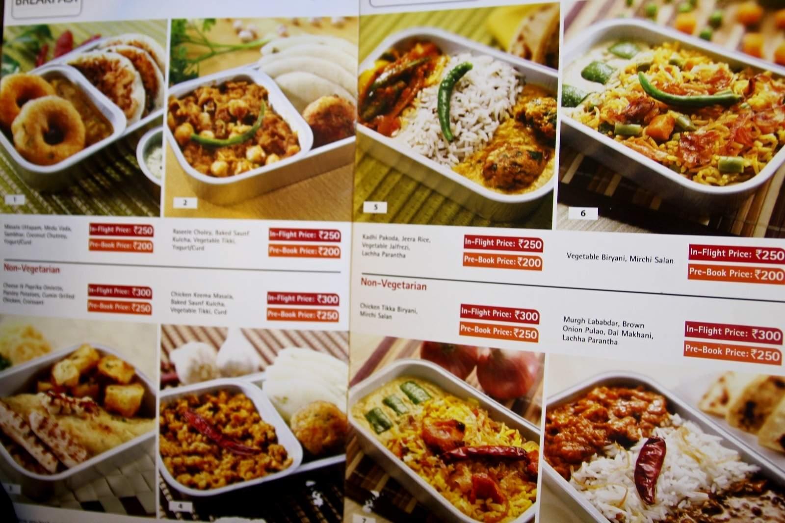 Cennik jedzenia w samolocie linii Spice Jet