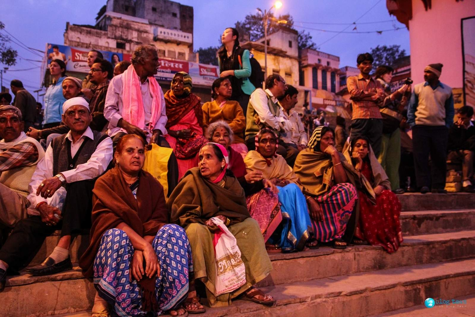 Varanasi, people on the stairs