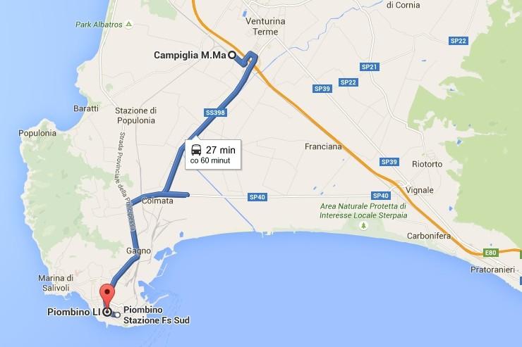 Bus Campiglia Marittima to Piombiono