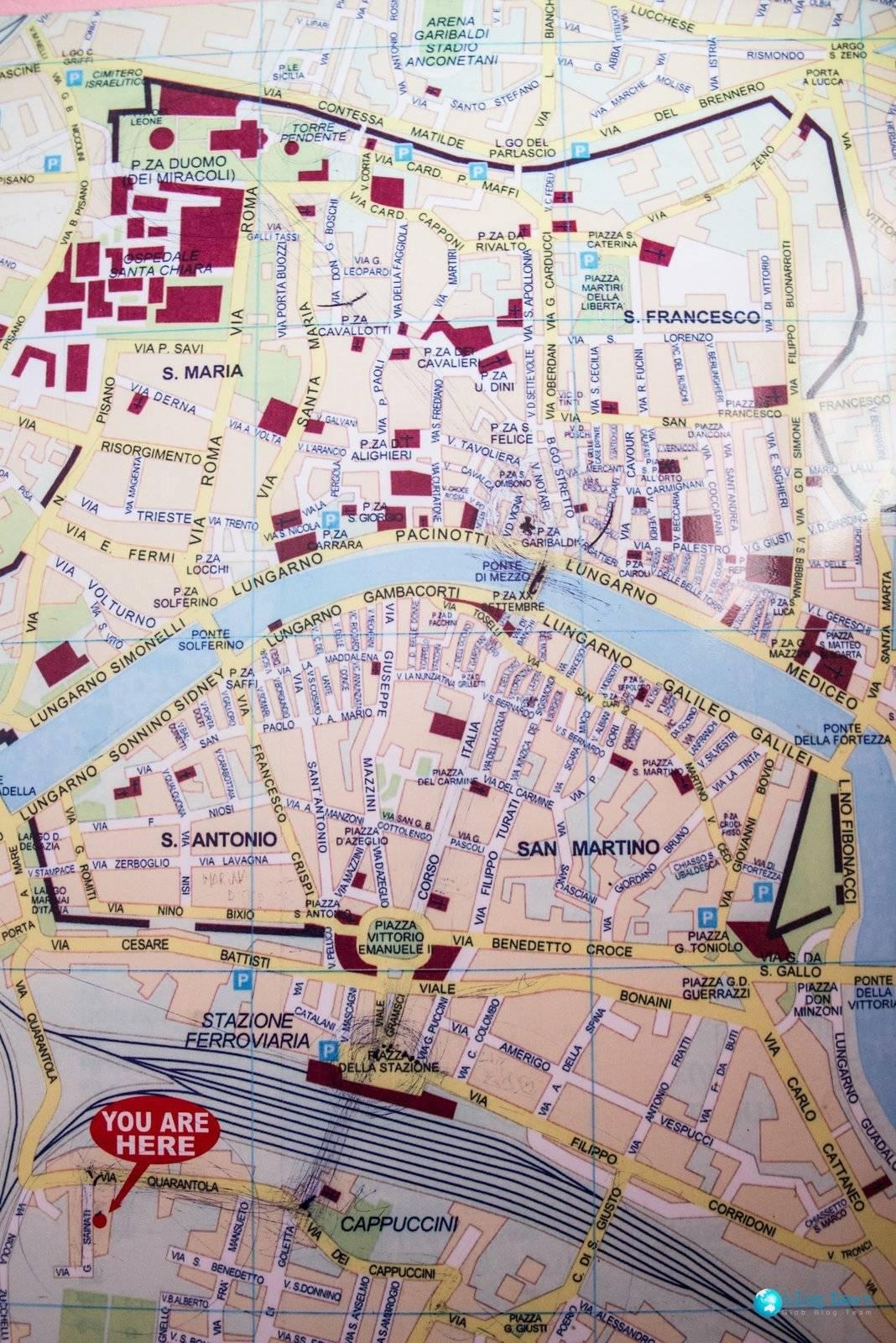Mapa Pizy - Pisa Map
