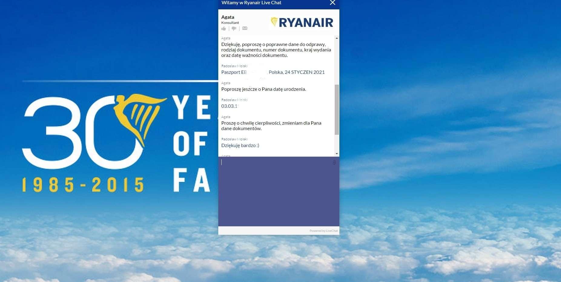 Czat Ryanair