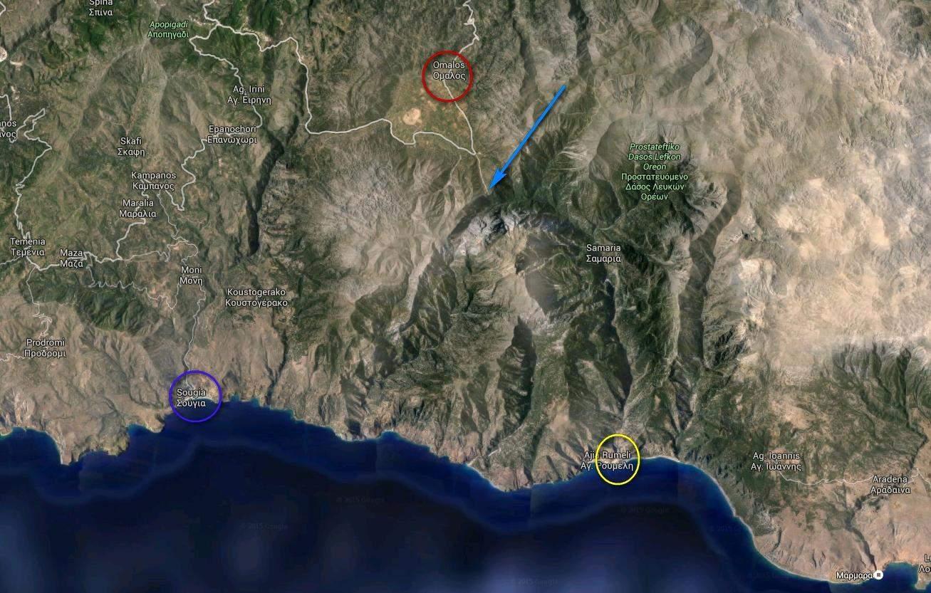Mapa wąwozu Samaria