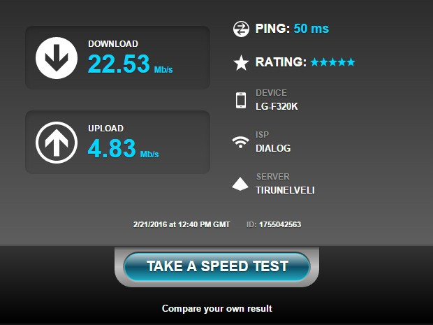 Dialog 4G GSM - Sri Lanka - Internet Speed