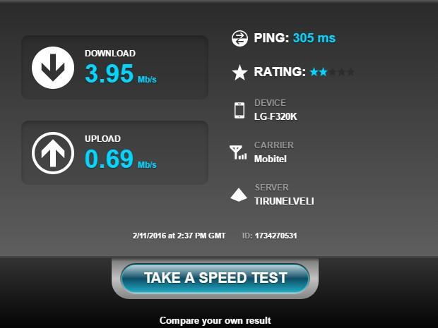 Mobiltel GSM - Sri Lanka - Internet Speed