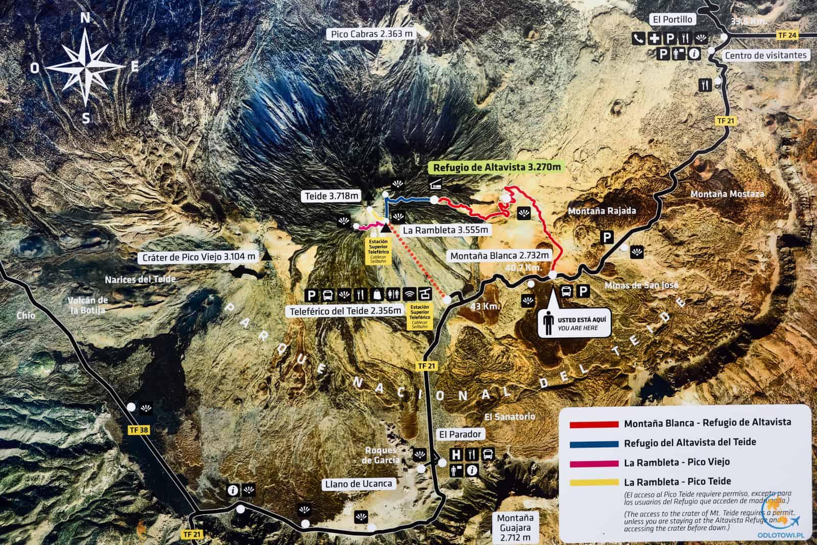 Mapa wejścia na El Teide - Teneryfa | Map of El Teide